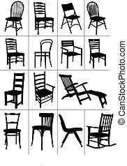 grand, ensemble, de, maison, chaise, silhouettes.