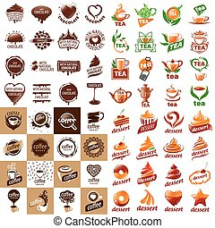 grand, ensemble, de, vecteur, logos, boissons chaudes, et, desserts