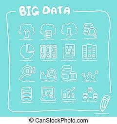 grand, ensemble, données, icône, griffonnage