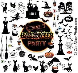 grand, ensemble, halloween, éléments