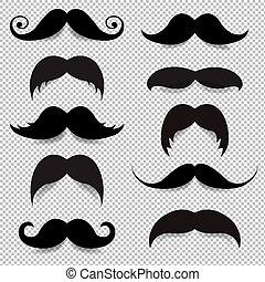 grand, ensemble, moustache, transparent, fond