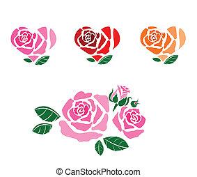 grand, ensemble, romantique, fleur, rose