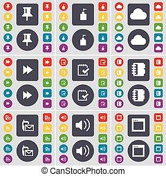 grand, ensemble, son, plat, épingle, sms, drapeau, symbole., enquête, boutons, fenêtre, vecteur, cahier, tour, réembobiner, icône, nuage, coloré, ton, design.