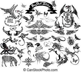 grand, ensemble, tatouage
