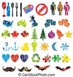 grand, ensemble, thèmes, divers, coloré, icône