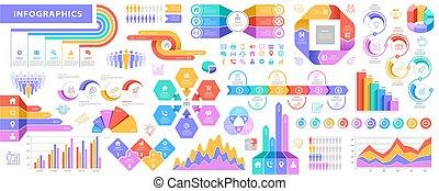 grand, ensemble, vecteur, infographic, éléments