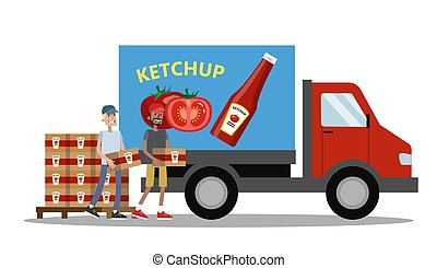grand, entiers, camion, ketchup