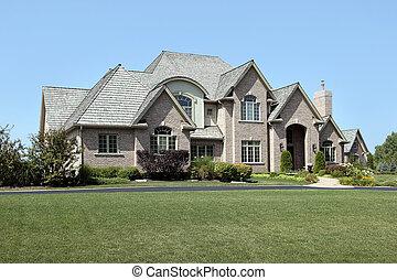 grand, entrée, brique, arqué, maison