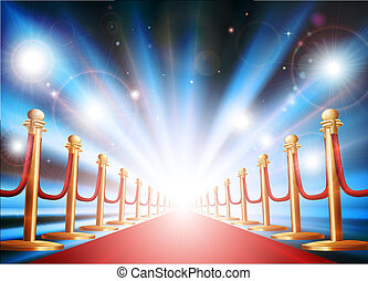A grand entrance with red carpet, velvet rope and photographers flash lights going off