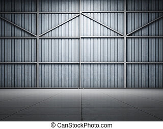 grand, entrepôt, illuminer, porte
