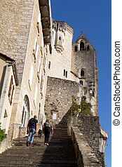 Grand escalier of Rocamadour. This village is a famous religious place in the south of France.