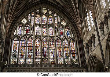 grand, est, fenêtre, de, exeter, cathédrale, de, tôt 14ème...