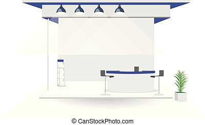 Grand Exhibition stand display mock up isolated white background design. Blank trade exhibition stand with tree on pot .Booth on exhibition