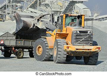 grand, exploitation minière, camion, jaune