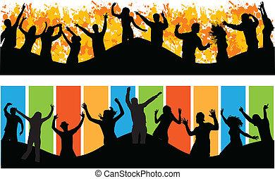 grand, fête, gens, danse