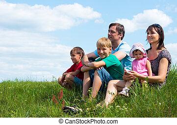 grand, famille, à, nature