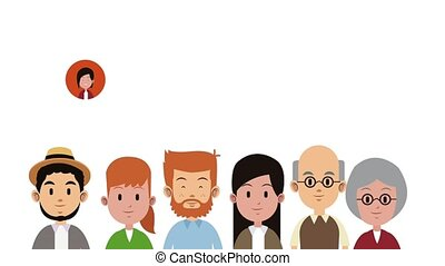 grand, famille, animation, dessins animés, hd