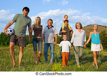 grand, famille heureuse, nature
