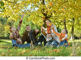 grand, famille, heureux