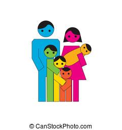 grand, famille, icône