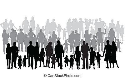 grand, famille, profils