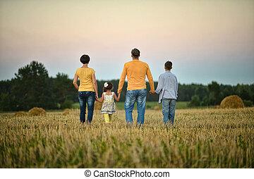 grand, famille, reposer