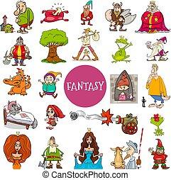 grand, fantasme, ensemble, conte, fée, caractères