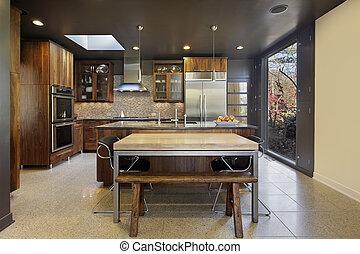 grand, fenêtre image, moderne, cuisine