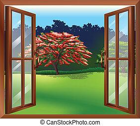 grand, fenêtre, ouvert, arbre, vue