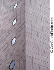 grand, fenetres, construction angle, rectangulaire, gris, ...