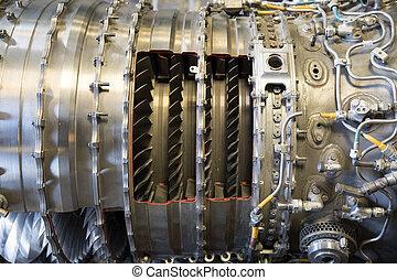 grand, ferait, jet, canaux transmission, punk, arrière-plan., avion, systèmes, mécanique, engine., vapeur, faire