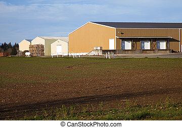 grand, ferme, entrepôts, rural, oregon.
