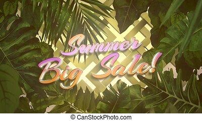grand, fond, closeup, texte, vente, fleurs tropicales, animé, été, feuille