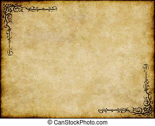 grand, fond, de, vieux, parchemin, papier, texture, à, orné,...
