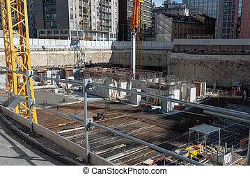 grand, fondations, site construction, gratte-ciel