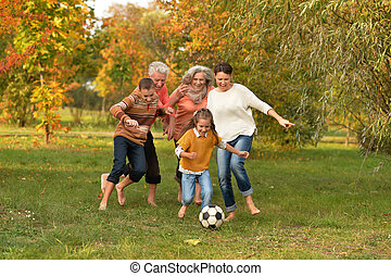 grand, football, jouer, famille