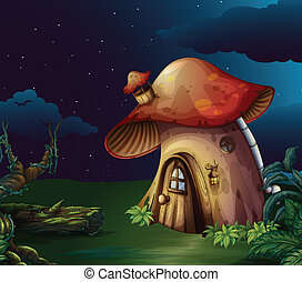 grand, forêt, champignon, maison