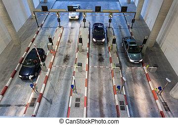 grand, garage, stationnement, entrer, voitures