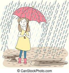 grand, girl, parapluie, rouges