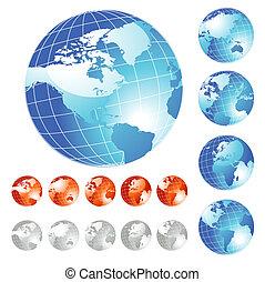grand, globe, ensemble