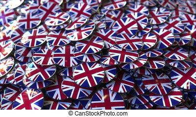grand, grand, grande-bretagne, tas, drapeaux, caractériser, ...