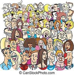 grand groupe, dessin animé, caractères, gens