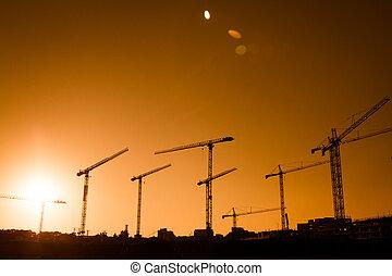 grand, grue, construction, silhouette, site