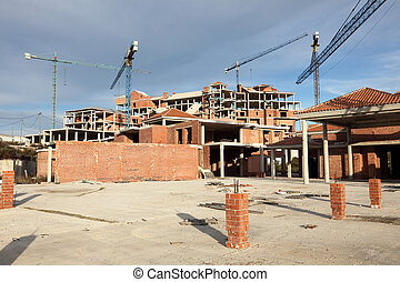 grand, grues, site construction