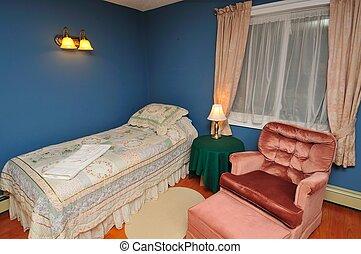grand, hôtel, confortable, salle