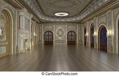 Grand hall interior - 3d render of luxury grand hall...