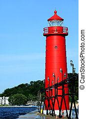 Grand Haven Lighthouse on Lake Michigan