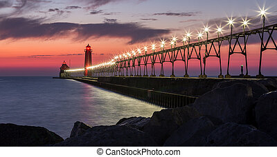 Grand Haven Pier - Grand haven pier lights at night