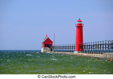 Grand Haven South Pierhead Inner Light, built in 1905, Lake...