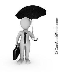 grand, homme affaires, parapluie, 3d, main